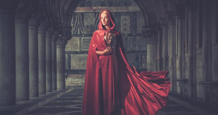 Humilty in a red dress