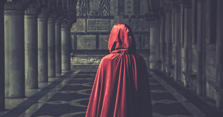 Humilty in a red dress from behind